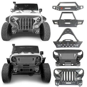 Front Bumper W 2x D Rings Winch Plate Textured For Jeep Wrangler Jk 2007 2018