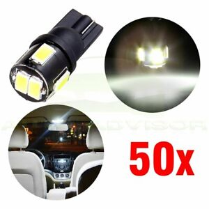 50xt10 6 5730 Smd Car Led W5w 168 Led Side Plate License Decoration Light Bulb