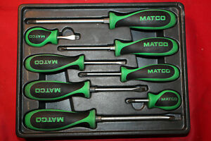Matco Sg106c 8 Piece Green Screwdriver Set In Tray P22