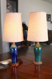 Vintage Mid Century Modern Blue Green Drip Glaze Pottery Table Lamp Pair Nice