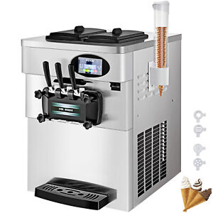 Commercial Soft Ice Cream Machine Frozen Yogurt 3 Flavors Mix Flavors 20 28l h