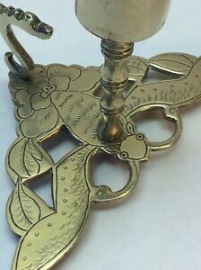 Old Unusual Chinese Moth Insect Brass Small Chamber Stick Very Rare L K