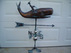 Large 3d Whale Weathervane Antique Copper Finish Fish Weather Vane Handcrafted