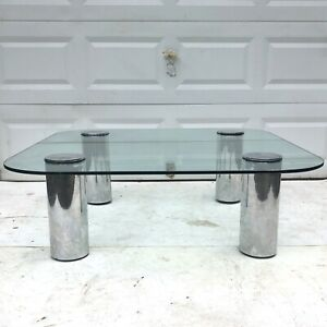 Mid Century Modern Chrome And Glass Coffee Table Attributed Pace Collection