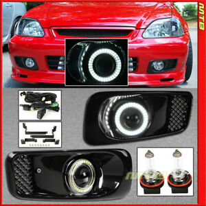 Projector Fog Lights Led Halo Ring For 99 00 Honda Civic Black Covers Clear Lens
