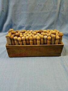 Vtg 69 Antique Wood Clothes Pins In Wood Cheese Box 4 Country Laundry Decor