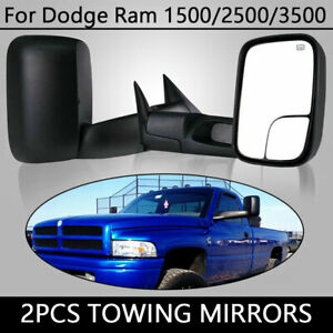 Fit 98 02 Dodge Ram 2500 3500 Power Heated Manual Fold Tow Mirrors L R