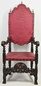 Antique William Mary Mahogany Chair W Spanish Feet Ornate Carvings Damask