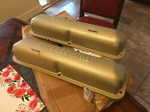 Ford Galaxie Thunderbird Fe 390 Engine Valve Covers Gold 1960 1964 Nice
