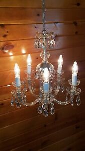 Vtg Antique Victorian Curved Arm Crystal Glass 5 Light Fixture Chandelier