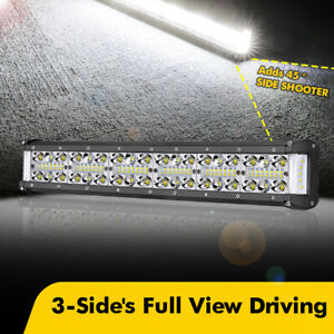 18inch Cree Quad Row Side Shooter Led Work Light Bar Spot Flood Driving Off Road