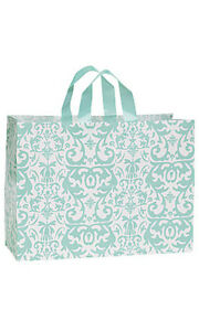 Aqua Damask Large Shopping Bags 16 X 6 X 12 Inches Case Of 25