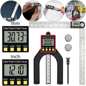 8 Digital Angle Finder Protractor Height Depth Gauge Led Display hold Button