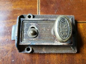 Antique Vtg Brass Elgin Dead Bolt Lock Door Cabinet Architectural Salvage Works