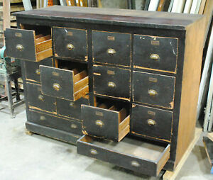 Large 1920 s Vintage Pine File Catolog Cabinet 14 Drawers Brass Pulls 6 25 Ft W