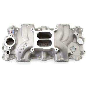Edelbrock Intake Manifold 7158 Dual Plane Satin Aluminum For Chevy 348 409 w