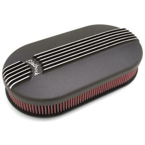 Edelbrock Air Cleaner Assembly 41193 Classic Black Aluminum Oval For 2 X 4bbl