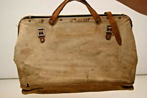 Old Vintage Leather Canvas Case Carry Bag Doctor Medical Personnel Electrician