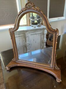 Antique Vintage French Style Carved Wood Dresser Top Shaving Vanity Mirror
