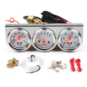 Universal 2 52mm Chrome Volt Water Oil Pressure Triple 3 Gauge Set Gauges Kit