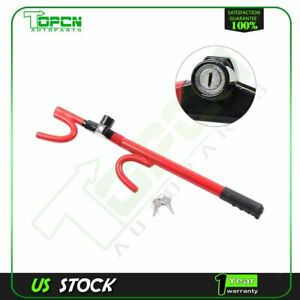 Superior Quality Basic Club Steering Wheel Lock Red W Solid Steel Hooks New