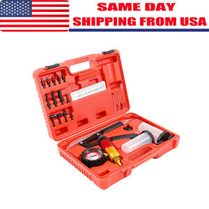 21pcs Hand Held Vacuum Pressure Pump Tester Fluid Brake Bleeder Tool Set Us Ship