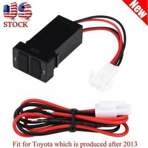 2 1a 12v 24v Dual Usb Port Car Charger Power Adapter Socket For Toyota Cellphone