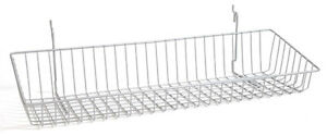 Sloping Basket For Slat grid And Pegboard In Chrome 24 W X 8 D Inches