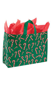 Dancing Candy Cane Plastic Large Shopping Bag 16 X 6x 12 Inch Lot Of 100