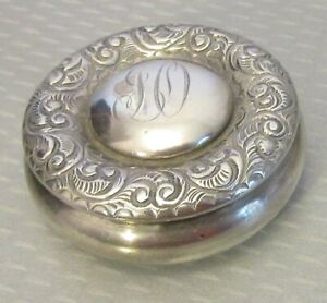 Antique Victorian Sterling Silver Box Puffy Hinged Lid Pillbox Snuff Patch 43g