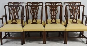 Set Of 8 Mahogany Chippendale Style Dining Chairs Attr To Kittinger