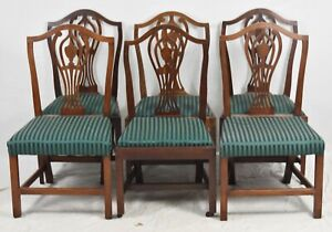 Set Of 6 Mahogany Neoclassical Hepplewhite Dining Chairs Historic Newport Style