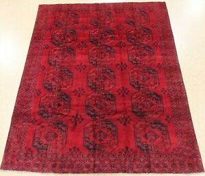 Afghan Tekke Rug Tribal Hand Knotted Wool Burgundy Oriental Carpet 7 X 9