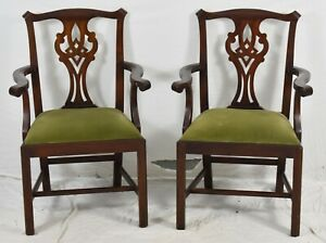 Pair Of Henkel Harris Chippendale Style Arm Dining Chairs Model 101 29 Finish