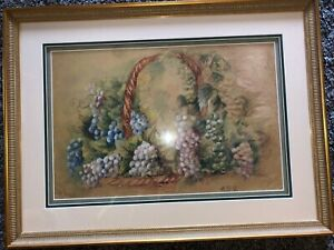 Antique Painting Grapes On Basket