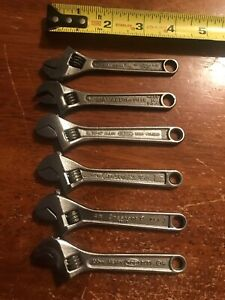 Vintage Crescent 4 Inch Adjustable Wrench Lot 6pc Made In The Usa