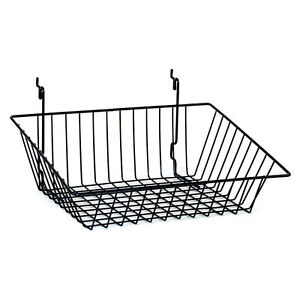 Sloping Basket For Slat grid And Pegboard In Black 15 W X 12 D Inches Box Of 8