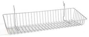 Sloping Basket For Slat grid And Pegboard In Chrome 24 W X 8 D Inches Box Of 8