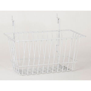 Basket Fits Slat grid pegboard In White 12 W X 6 D X 6 D Inches Box Of 8