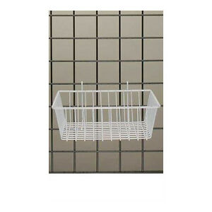 Mini Wire Grid Basket In White Powder Coat 12 L X 12 W X 4 D Inches