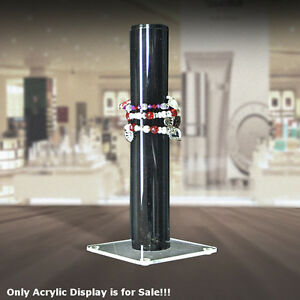 Acrylic Bracelet Counter Display In Black 11 75h X 2d Inches With Square Base