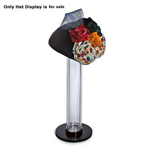 Plastic Clear Vertical Counter Hat Display 12h X 2d Inches With Black Top