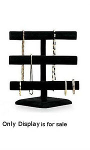 3 Tier Jewelry Display In Black Velvet Finish 12w X 13h Inches
