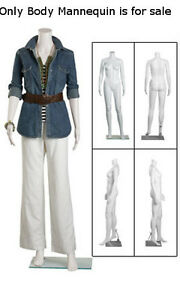 Female Headless Plastic Mannequin In White With Straight Arm 5 Feet 4 H Inch