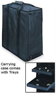 Jewelry Tray Carrying Cases In Black 16l X 9w X 19h Inches With 17 Trays