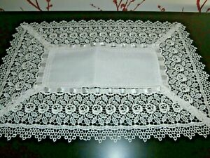 Pretty Vintage Style Silky White Polyester Cotton Lace Table Runner 18 X 12