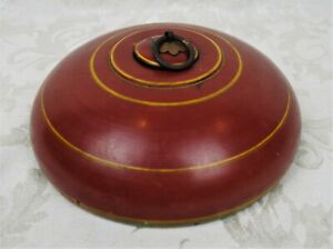 Antique Wood Inkwell Chinese Folk Art Red Yellow Painted Lidded Vessel