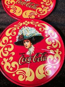 COCA COLA COASTERS COKE OLD FASHIONED RED TIN DRINK COASTER SET W/ CASE VGUC