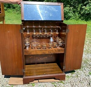 Nice Antique Art Deco 1930 S Rmc Bar Cabinet With Original Drinkware Glass