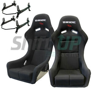 Bride Zieg Black Low Max Pair Seats W Low Down Rail Wrx sti Gc8 gdb Sub Vios